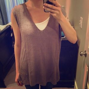 Free People distressed brown knitted tank